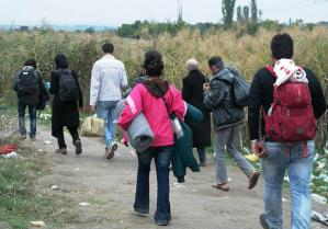 Migranti in cammino in Macedonia (foto International Federation of Red Cross and Red Crescent Societies, http://bit.ly/R7HqWA)